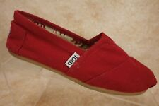 TOMS Classic Red Canvas Boat Ballet Flats Slip On Shoes Womens Size 6
