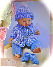 Dolls Clothes Knitting Pattern, 3 Sizes For Baby Dolls 12 - 22 ins. Long.