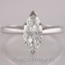 Diamond Ring Marquise Cut 1.27ct Certificated F SI1 Exc Exc in 18ct White Gold