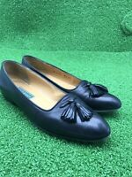 Cole haan Leather Tassel Loafer Women's Size US-8.5AA Black Italian Made