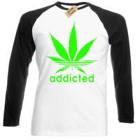 Addicted T Shirt baseball long sleeve Weed Cannabis Marijuana Dope