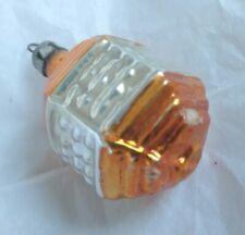 Vintage Lantern Shaped Glass Christmas Tree Ornament / Bauble Orange / Gold