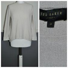 Ted Baker Ladies Sparkly Sweater Jumper Knit Top Cream Sz 3 UK 10 Medium