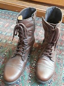 Steve Madden Womens Troopa Combat Ankle Boots Brown Leather Zip Lace Up Size 9.5