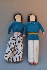 "Indian Doll Pair Man Woman Navajo Buffalo Wool Hair Drawn Faces 8"" Vintage Folk"