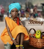 1/4 BJD Doll SD Girl benny Bust: 17.5cm -Free Face Make UP+Free Eyes-Tan color