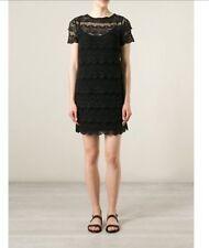 NWT Michael Kors Short Sleeve Black Layered Scalloped Lace Dress sz S $175