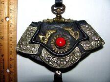 Antique 19thC Tibetan Lhasa Tibet Flint Mechak Brass Silver Coral Purse ~CAT RSQ