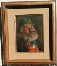 Tyrolean Man with Pipe- Oil Painting-Fritz Muller-German