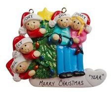 Personalized Christmas Tree Lights Family of 5 Ornament