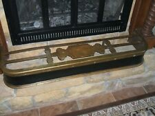 ANTIQUE   BRASS & STEEL   FIREPLACE FENDER    1800's