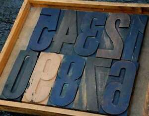 """GIANT NUMBERS 0-9 RARE 8.88"""" Letterpress wooden type woodtype wood number"""