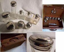 VALISE de TOILETTE cuir 1920 flacons CRISTAL et ARGENT gravés JANE décor LAURIER
