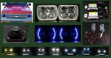 H6014 H6052 H6054 7x6 Halo Blue LED Projector Headlights + HID 4.3K 6K 8K 10K