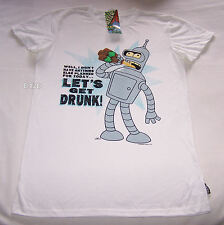 Futurama Bender Get Drunk Mens Off White Printed T Shirt Size XS New