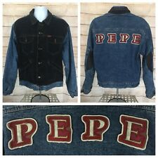 Pepe Jeans London Mens Large Denim Jacket Two Tone Flannel Lined Back Spellout