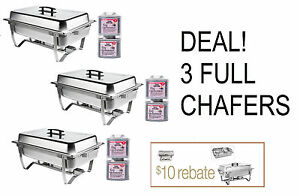 Big Game 3 PACK DEAL FOLDING CHAFING Dish Sets CHAFER CATERING 8 QT + Rebate