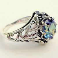 2.3ct Aquamarine Women Men Jewelry 925 Silver Wedding Engagement Ring Size 5-11