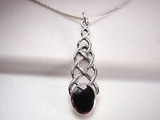 Black Onyx Celtic Weave Pendant 925 Sterling Silver Corona Sun Jewelry