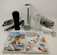 Nintendo Wii Console White w/ 2 Controllers 2 Games + all Cables Bundle Tested!