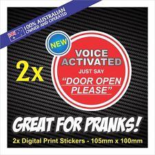 Voice Activated Door Sticker Funny Prank Decal  ** 2 PACK ** Funny Door Family