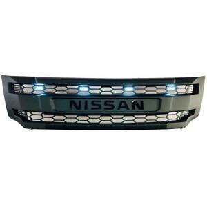 FOR NISSAN NAVARA NP300 2014-2018 17 16+ FRONT GRILLE BLACK LOGO 4 WHITE LEDs