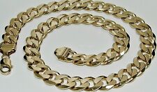 9ct Gold on Silver Curb Chain - CHUNKY / HEAVY - 20 22 24 26 30 inch - MEN'S