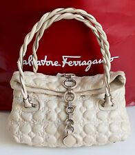 Salvatore Ferragamo Quilted Cream Leather Padded Gancini Bag Medium/Large Size