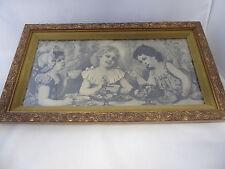 Vintage Print Little Girls Tea Party