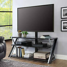 """Whalen Xavier 3-in-1 TV Stand for TVs up to 70"""" Black with silver accents"""