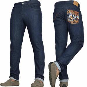 Mens Designer Slim Fit Jeans Branded Straight Leg Denim Pants By VON DENIM