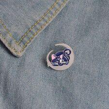 Cartoon Lovely Enamel Moon Blue Cat Pattern Badge Fashion Jewelry Brooch Pin