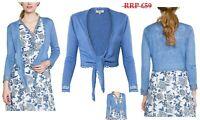 East Linen Tie Front Cover Up Cardigan, Cornflower - Sizes  XS/S/M/L/XL - BNWT