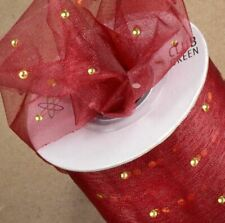 CUT ORGANZA BURGUNDY RIBBON WITH GOLD DOT 50mm x 25 METERS FULL REEL WEDDING
