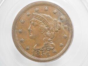 1854 Large Cent PCGS AU55 # 8205