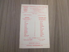 Leicester City Teams L-N Football Reserve Fixture Programmes