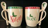 Lenox Naughty & Nice coffee mug cocoa cup tea 2 stir spoons 14 oz set of 2 NIB