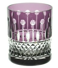 Faberge XENIA Amethyst Purple Cut to Clear Crystal Rocks DOF Whisky Glass Signed