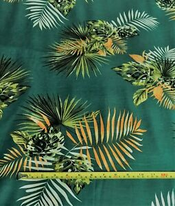Tropical LeavesPrinted Viscose - Bottle Green - By the Metre - Free Econ P&P
