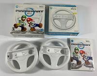Nintendo Mario Kart Wii Game Complete With 2 OEM Steering Wheels Complete Tested