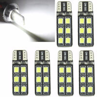 6PC T10 194 168 2835 12LED Canbus Error Free Width Door Map Light Bulb White Set