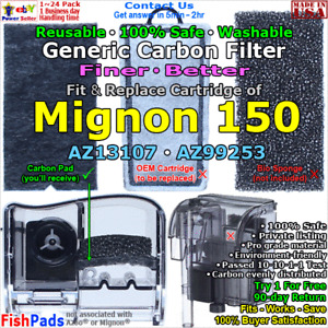 For Azoo Mignon 150 Power Filter Cartridge AZ13107,AZ99253 Compatible Carbon Pad