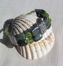 "Crystal Gemstone Beaded Bracelet, Peridot & Green Jasper ""Olivine"""