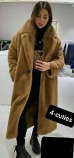 ZARA SS2020 Camel Coat With Faux Fur Uk Size Extra Small XS Long Teddy