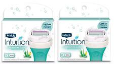 2 Schick Intuition Natural Sensitive Care WOMEN 3 Cartridges EACH Aloe Vit .E