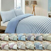 Luxury Stripe Quilt Duvet Cover Pillow Case Set Soft Cotton Rich Bedding