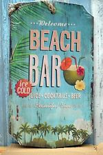 Retro Chic Welcome Beach Bar Ice Cold Juice Cocktails Beer Wall Plaque Sign