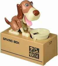 Dog Piggy Bank - Robotic Coin Munching Money Box (Brown & White) US Seller