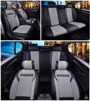 Deluxe Grey Black PU Leather Full set Seat Covers For BMW 3 5 7 X3 X5 X6 series