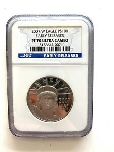 2007 W PLATINUM $100 PROOF AMERICAN EAGLE NGC PF 70 ULTRA CAMEO EARLY RELEASES
